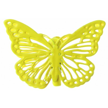 Papillon métal jaune sur pince les 4