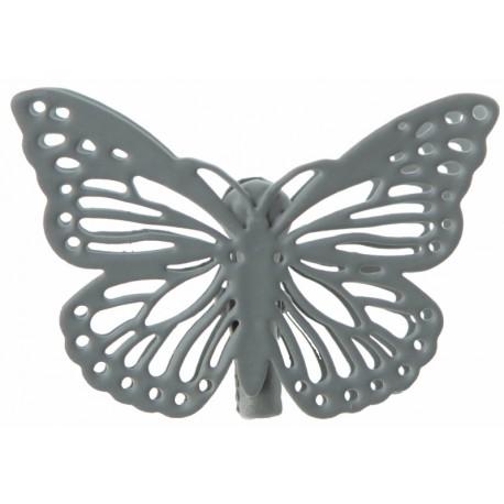 Papillon métal gris sur pince les 4