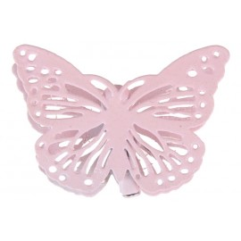 Papillon métal rose sur pince les 4