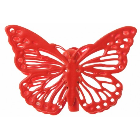 Papillon métal rouge sur pince les 4