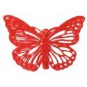 Papillons métal rouge sur pince les 4