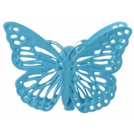 Papillon métal turquoise sur pince les 4