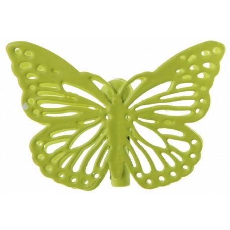 Papillon métal vert anis sur pince les 4