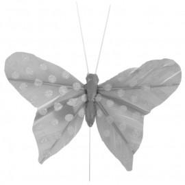 Papillon gris à pois sur tige les 6