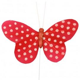 Papillon rouge à pois sur tige les 6
