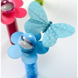 Papillon turquoise à pois sur tige les 6