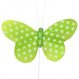 Papillon vert anis à pois sur tige les 6