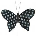 Papillon noir à pois sur tige les 6