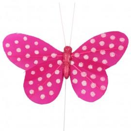 Papillon fuchsia à pois sur tige les 6