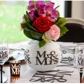 Lanterne boule papier mariage Mr & Mrs 20 cm les 2