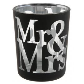 Photophores mariage Mr & Mrs en verre noir les 12