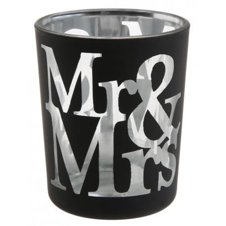 Photophore mariage Mr & Mrs en verre noir les 12