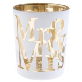Photophore mariage Mr & Mrs en verre blanc les 12