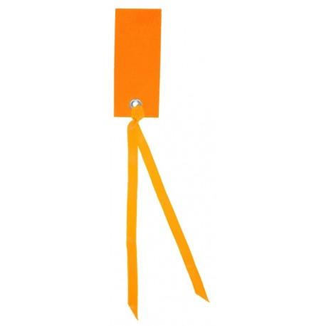 Etiquette rectangle orange avec ruban les 12