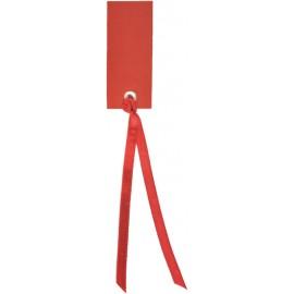Etiquette rectangle rouge avec ruban les 12
