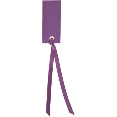 Etiquette rectangle prune avec ruban les 12