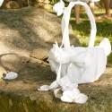 Panier à pétales ivoire en satin