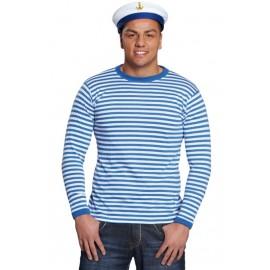 Déguisement T-Shirt rayé bleu blanc adulte mixte