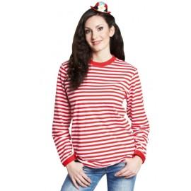 Déguisement T-Shirt rayé rouge blanc adulte mixte