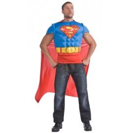Déguisement Superman™ adulte T-Shirt avec cape (musclé)