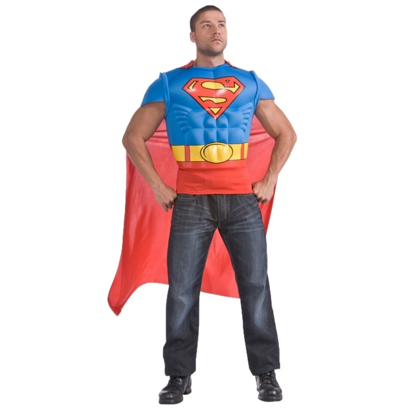 d guisement superman adulte t shirt avec cape d guisements superman. Black Bedroom Furniture Sets. Home Design Ideas
