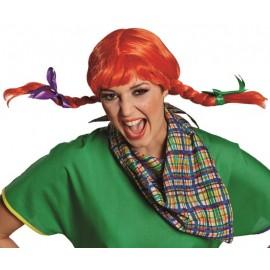 Perruque fifi rouge avec tresses femme