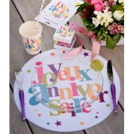 Set de table joyeux anniversaire rond 34 cm les 6