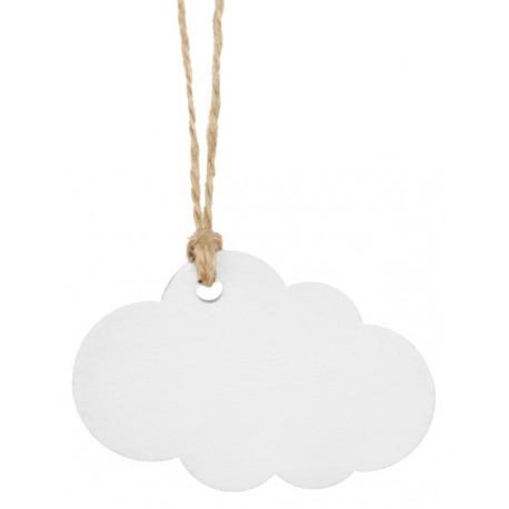 Etiquette Nuage Blanc En Bois Avec Cordon X 6 Etiquettes Marque Places