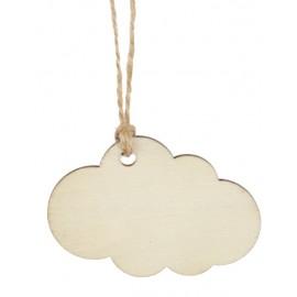 Etiquette nuage en bois naturel avec cordon les 6