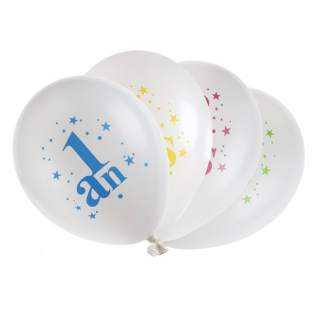 Ballons anniversaire 1 an 23 cm les 8