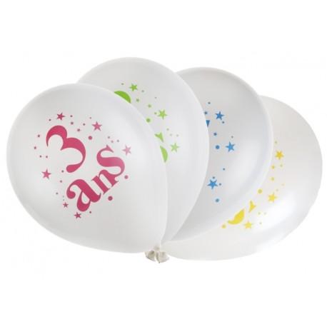 Ballons anniversaire 3 ans 23 cm les 8
