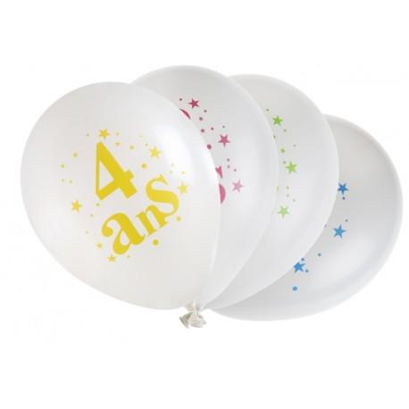 Ballons anniversaire 4 ans 23 cm les 8