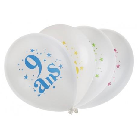 Ballons anniversaire 9 ans 23 cm les 8