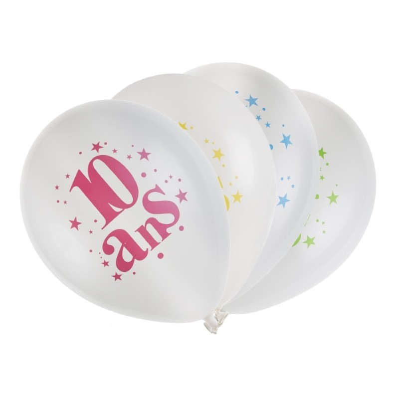ballons anniversaire 10 ans 23 cm les 8 ballons de baudruche. Black Bedroom Furniture Sets. Home Design Ideas