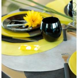 Set de table rond intissé gris 34 cm les 10