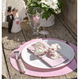 Set de table rond intissé rose 34 cm les 10