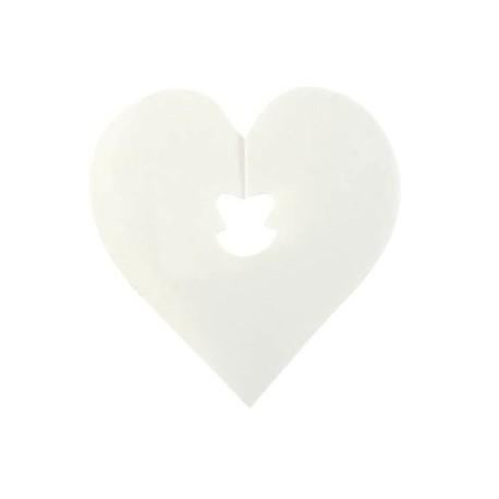 Attache sachet coeur blanc 5 cm les 24