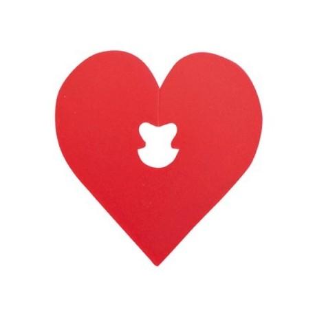 Attache sachet coeur rouge 5 cm les 24