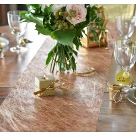 Chemin de table fanon cuivre métallisé intissé fibres 5 M