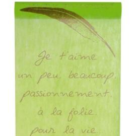 Chemin de table je t'aime vert anis intissé 5 M