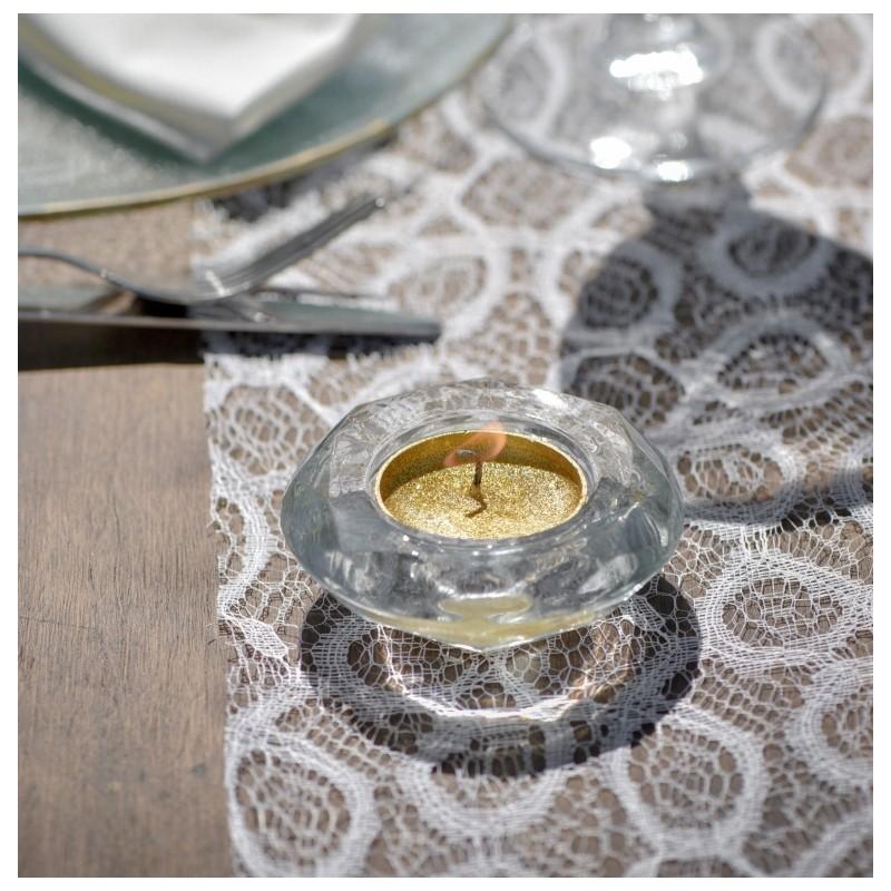 bougeoir diamant transparent en verre d co de table. Black Bedroom Furniture Sets. Home Design Ideas