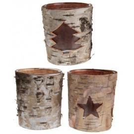 Photophores écorce de bois en verre assortis les 12