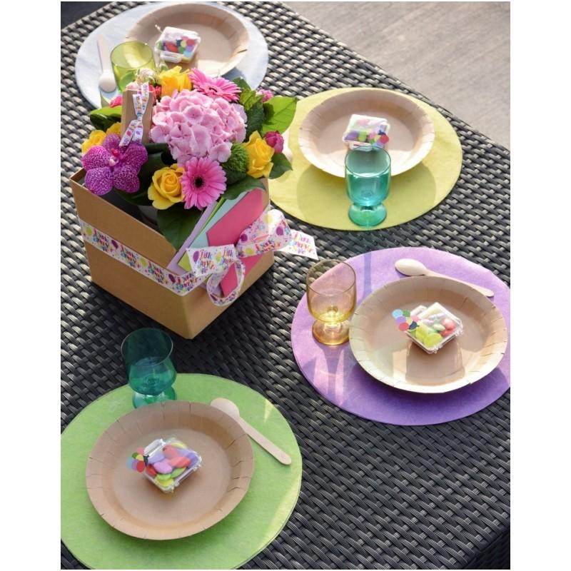 set de table rond intiss turquoise x10 set de table art de la table. Black Bedroom Furniture Sets. Home Design Ideas