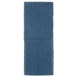 Pochette à couverts et serviette jean bleu clair les 4