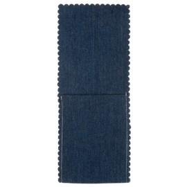 Pochette à couverts et serviette jean bleu les 4