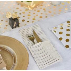 Pochette à couverts et serviette à pois or les 4
