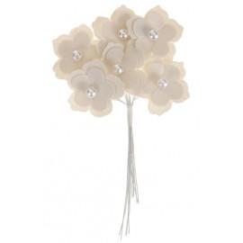 Fleur coton blanc sur tige les 6