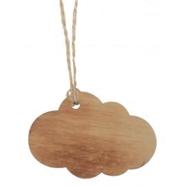 Etiquette nuage en bois brûlé avec cordon les 6