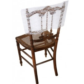 Housse dossier de chaise dentelle blanche les 2