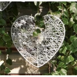 Coeur de fil blanc 25 cm